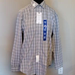 Grey plaid w/red button down ck long sleeve NWT
